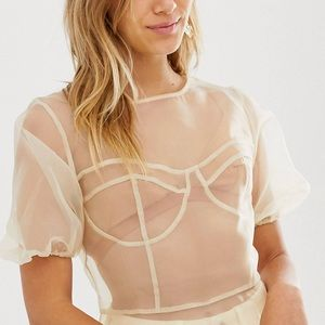 Asos sheer organza top blouse shirt puff sleeve